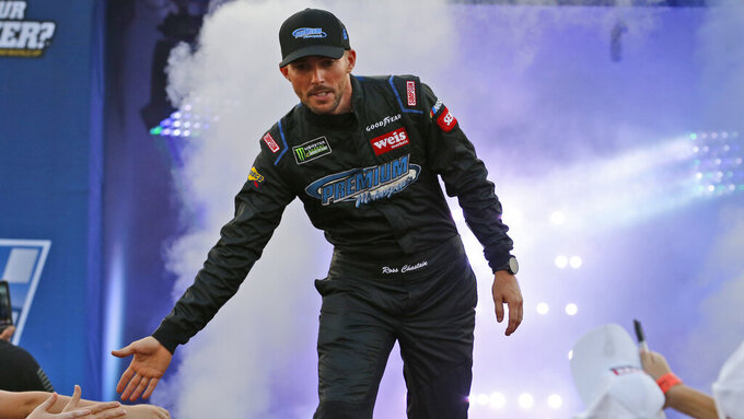 Ross Chastain greets fans during driver introductions for the NASCAR Monster Energy Cup series auto race at Richmond Raceway in Richmond, Va., Saturday, Sept. 21, 2019. (AP Photo/Steve Helber)