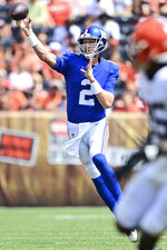 New York Giants quarterback Mike Glennon (2) throws during the first half of an NFL football game against the Cleveland Browns, Sunday, Aug. 22, 2021, in Cleveland. (AP Photo/David Dermer)