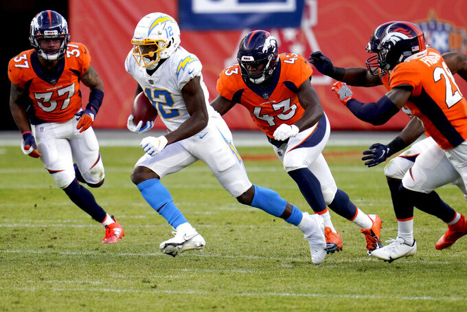 Los Angeles Chargers wide receiver Joe Reed (12) is pursued by Denver Broncos linebacker Joe Jones (43) during the second half of an NFL football game, Sunday, Nov. 1, 2020, in Denver. (AP Photo/Jack Dempsey)
