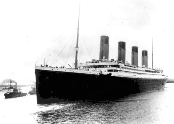 FILE - In this April 10, 1912 file photo the Titanic leaves Southampton, England on her maiden voyage. The company that owns the salvage rights to the Titanic shipwreck has indefinitely delayed plans to retrieve and exhibit the vessel's radio equipment because of the coronavirus pandemic, according to a court filing made by the firm on Friday Jan. 29, 2021. (AP Photo/File)