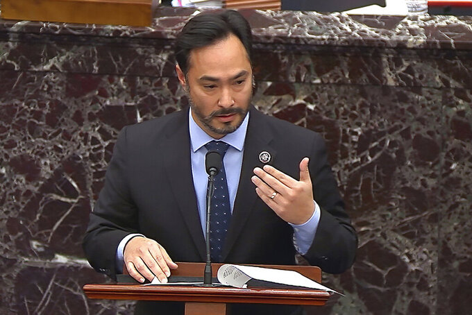 FILE - In this image from video on Feb. 12, 2021, House impeachment manager Rep. Joaquin Castro, D-Texas, answers a question from a senator during the second impeachment trial of former President Donald Trump in the Senate at the U.S. Capitol in Washington. Latinos are perpetually absent in major newsrooms, Hollywood films and other media industries where their portrayals_ or lack thereof_ could deeply impact how their fellow Americans view them, according to a government report released Tuesday, Sept. 21. Castro has made the inclusion of Latinos in media a principal issue, imploring Hollywood studio directors, journalism leaders and book publishers to include their perspectives. (Senate Television via AP)