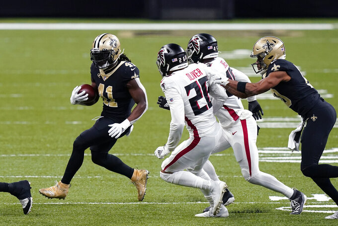 New Orleans Saints running back Alvin Kamara (41) carries in the first half of an NFL football game against the Atlanta Falcons in New Orleans, Sunday, Nov. 22, 2020. (AP Photo/Butch Dill)