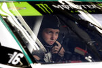 Pole winner William Byron sits in his car during practice for Sunday's NASCAR Cup Series auto race at Charlotte Motor Speedway in Concord, N.C., Saturday, Sept. 28, 2019. (AP Photo/Wesley Broome)