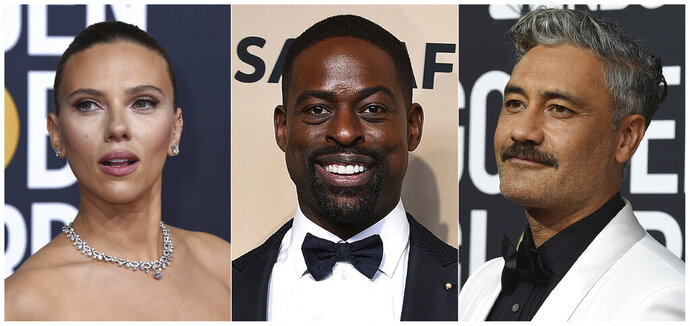This combination of photos shows, from left, Scarlett Johansson, Sterling K. Brown and Taika Waititi, who will join Roman Griffin Davis, Jason Bateman, Lili Reinhart and Kaitlyn Dever as presenters at the 26th annual Screen Actors Guild Awards on Sunday, Jan. 19, 2020. (AP Photo)