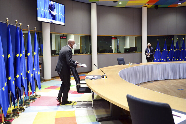 European Council President Charles Michel arrives to participate in a video conference with member states in preparation for the upcoming EU summit at the European Council building in Brussels, Wednesday, Dec. 2, 2020. (Johanna Geron, Pool via AP)