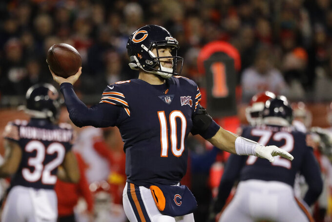 Chicago Bears quarterback Mitchell Trubisky throws against the Kansas City Chiefs in the first half an NFL football game in Chicago, Sunday, Dec. 22, 2019. (AP Photo/Nam Y. Huh)