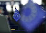 An European flag is pictured at the European Parliament in Strasbourg, eastern France, Tuesday, Sept.17, 2019. (AP Photo/Jean-Francois Badias)