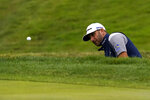 Dustin Johnson hits from the bunker on the eighth hole during the final round of the PGA Championship golf tournament at TPC Harding Park Sunday, Aug. 9, 2020, in San Francisco. (AP Photo/Jeff Chiu)