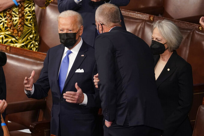President Joe Biden arrives to speak to a joint session of Congress Wednesday, April 28, 2021, in the House Chamber at the U.S. Capitol in Washington. (AP Photo/Andrew Harnik, Pool)