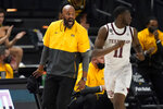 Missouri head coach Cuonzo Martin reacts as his team comes down court against Texas A&M during the second half of an NCAA college basketball game Saturday, Jan. 16, 2021, in College Station, Texas. (AP Photo/Sam Craft)