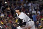 New York Yankees starting pitcher Gerrit Cole delivers to a Boston Red Sox batter during the fourth inning of a baseball game at Fenway Park, Friday, Sept. 24, 2021, in Boston. (AP Photo/Mary Schwalm)
