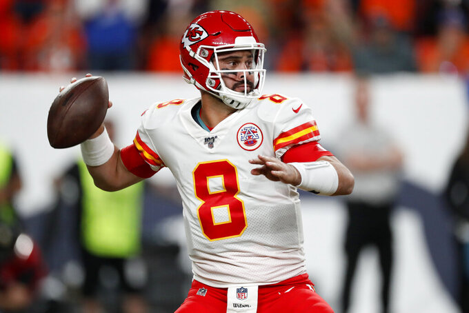 Kansas City Chiefs quarterback Matt Moore (8) throws against the Denver Broncos during the second half of an NFL football game, Thursday, Oct. 17, 2019, in Denver. (AP Photo/David Zalubowski)