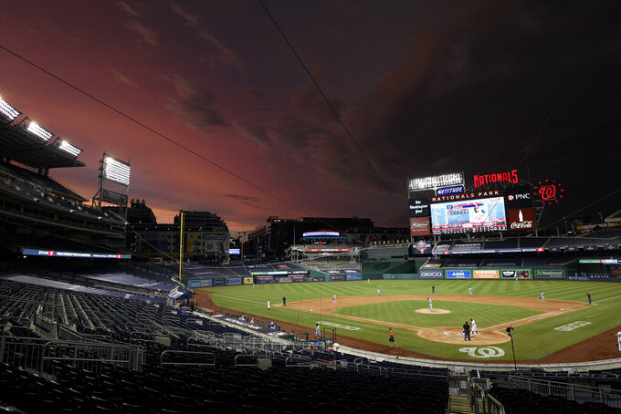 The Washington Nationals compete against the Toronto Blue Jays during the eighth inning of a baseball game, Tuesday, July 28, 2020, in Washington. (AP Photo/Nick Wass)