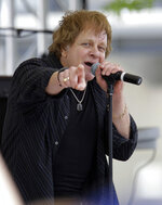 FILE - In this May 22, 2010 file photo,  Eddie Money performs on the first day of qualifications for the Indianapolis 500 auto race at the Indianapolis Motor Speedway in Indianapolis.  Family members have said Eddie Money has died on Friday, Sept. 13, 2019. (AP Photo/Darron Cummings)