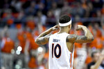 Auburn guard Samir Doughty celebrates a foul call against Vanderbilt during the first half of an NCAA college basketball game Wednesday, Jan. 8, 2020, in Auburn, Ala. (AP Photo/Julie Bennett)