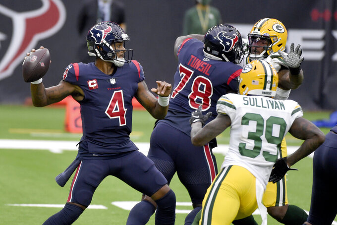 Houston Texans quarterback Deshaun Watson (4) throws during the first half of an NFL football game against the Green Bay Packers Sunday, Oct. 25, 2020, in Houston. (AP Photo/Eric Christian Smith)