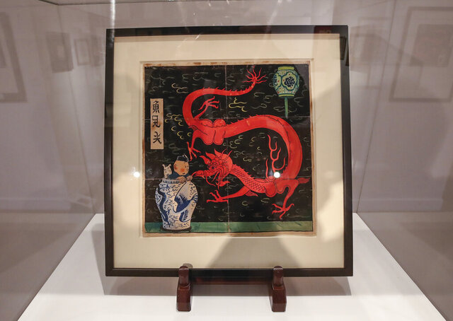 The inked and water-painted original panel of the comic character Tintin from the 1936
