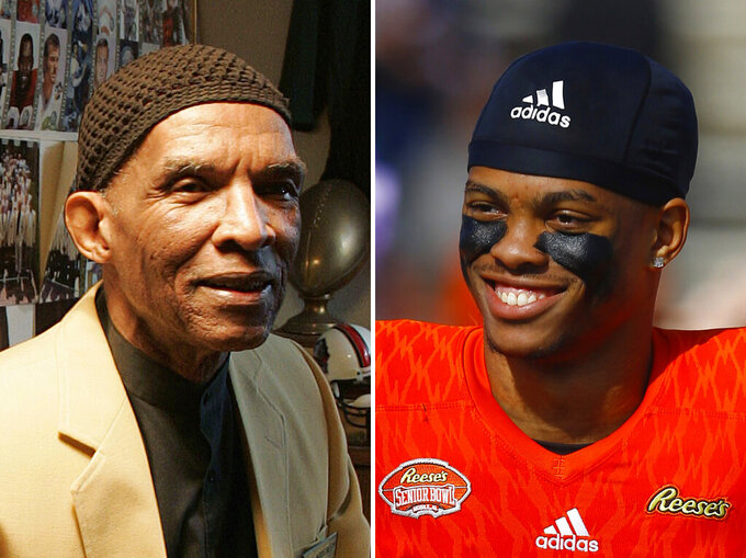 FILE - At left, in an Oct. 2, 2008, file photo, former NFL player Herb Adderley sits in a room full of memorabilia of his playing days with the Green Bay Packers, at his home in Mantua, N.J. At right, in a Jan. 26, 2019, file photo, Delaware safety Nasir Adderley smiles before the start of the Senior Bowl NCAA college football game, in Mobile, Ala. University of Delaware safety Nassir Adderley was in high school when he connected with his grandfather's first cousin, Hall of Fame defensive back Herb Adderley, who sent him videos of his playing days during the Vince Lombardi era in Green Bay. The elder Adderley would become a huge influence in his life as Nassir lost his grandfather, then blossomed into an NFL prospect himself. (AP Photo/File)