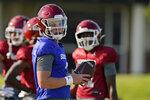 Oklahoma quarterback Spencer Rattler participates in an NCAA college football practice, Tuesday, Aug. 10, 2021, in Norman, Okla. (AP Photo/Sue Ogrocki)