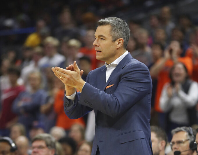 Virginia head coach Tony Bennett reacts to play during an NCAA college basketball game against Maine in Charlottesville, Va., Wednesday, Nov. 27, 2019. (AP Photo/Andrew Shurtleff)