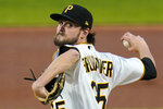 Pittsburgh Pirates starting pitcher JT Brubaker delivers during the first inning of a baseball game against the Chicago Cubs in Pittsburgh, Monday, Sept. 21, 2020. (AP Photo/Gene J. Puskar)