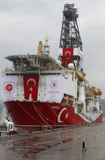 A view of the drilling ship 'Yavuz' scheduled to be dispatched to the Mediterranean, at the port of Dilovasi, outside Istanbul, Thursday, June 20, 2019. Turkish officials say the drillship Yavuz will be dispatched to an area off Cyprus to drill for gas. The Cyprus government says Turkey's actions contravene international law and violate Cypriot sovereign rights. (AP Photo/Lefteris Pitarakis)