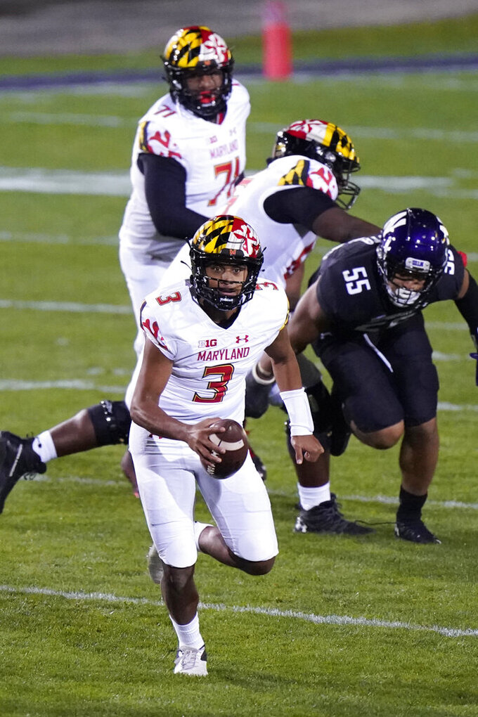 Maryland quarterback Taulia Tagovailoa (3) runs with the ball during the first half of an NCAA college football game against Northwestern in Evanston, Ill., Saturday, Oct. 24, 2020. (AP Photo/Nam Y. Huh)