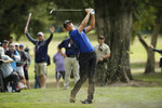 Cameron Champ follows his approach shot up to the third green of the Silverado Resort North Course during the final round of the Safeway Open PGA golf tournament Sunday, Sept. 29, 2019, in Napa, Calif. (AP Photo/Eric Risberg)