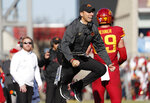 Iowa State head coach Matt Campbell protests a penalty against his team during the first half of an NCAA college football game against Kansas, Saturday, Nov. 23, 2019, in Ames, Iowa. (AP Photo/Matthew Putney)
