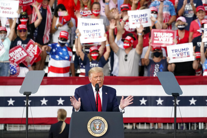 President Donald Trump delivers remarks to supporters at a campaign rally Friday, Oct. 23, 2020, in The Villages, Fla. (AP Photo/John Raoux)