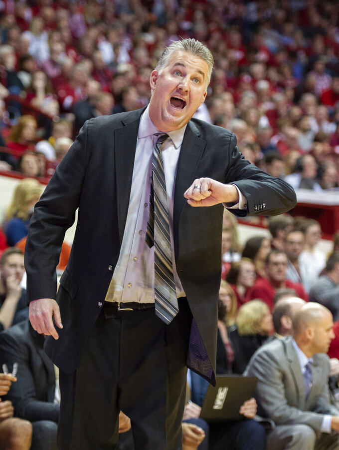Purdue head coach Matt Painter reacts to the action on the court during the first half of an NCAA college basketball game against Indiana, Saturday, Feb. 8, 2020, in Bloomington, Ind. (AP Photo/Doug McSchooler)