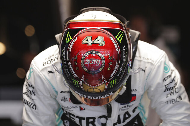 Mercedes driver Lewis Hamilton of Britain during the first free practice at the Yas Marina racetrack in Abu Dhabi, United Arab Emirates, Friday, Nov. 29, 2019. The Emirates Formula One Grand Prix will take place on Sunday. (AP Photo/Hassan Ammar)