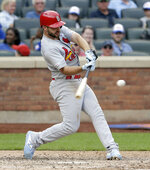 St. Louis Cardinals' Paul DeJong hits a solo home run during the eighth inning of a baseball game against the New York Mets at Citi Field, Sunday, June 16, 2019, in New York. (AP Photo/Seth Wenig)