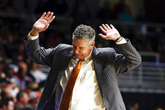 Auburn head coach Bruce Pearl reacts to a call during the second half of an NCAA college basketball game against South Alabama, Tuesday, Nov. 12, 2019, in Mobile, Ala. Auburn won 70-69. (AP Photo/Butch Dill)