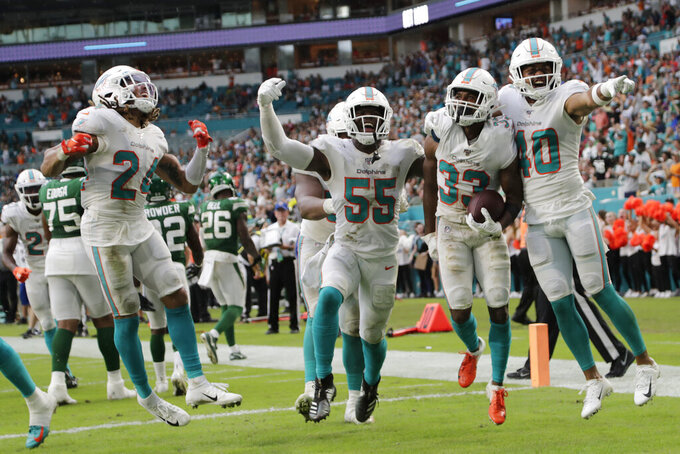 Miami Dolphins' cornerback Ryan Lewis (24) outside linebacker Jerome Baker (55) cornerback Jomal Wiltz (33) and defensive back Nik Needham (40) celebrate after Wiltz made an interception during the first half of an NFL football game against the New York Jets, Sunday, Nov. 3, 2019, in Miami Gardens, Fla. (AP Photo/Lynne Sladky)