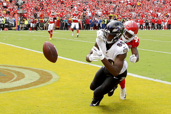 Kansas City Chiefs cornerback Charvarius Ward (35) breaks up a pass intended for Baltimore Ravens wide receiver Miles Boykin (80) in the end zone during the second half of an NFL football game Sunday, Sept. 22, 2019, in Kansas City, Mo. (AP Photo/Charlie Riedel)