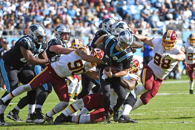 Washington Redskins linebacker Montez Sweat (90), defensive end Matthew Ioannidis (98) and defensive end Jonathan Allen chase Carolina Panthers quarterback Kyle Allen (7) during the first half of an NFL football game in Charlotte, N.C., Sunday, Dec. 1, 2019. (AP Photo/Mike McCarn)