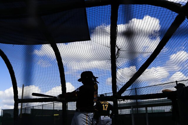 Pittsburgh Pirates' Josh Bell takes batting practice during a spring training baseball workout Monday, Feb. 17, 2020, in Bradenton, Fla. (AP Photo/Frank Franklin II)