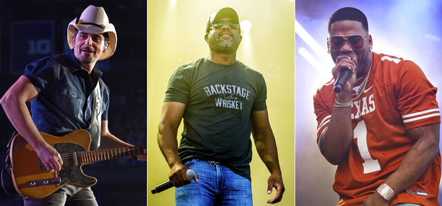 "This combination photo shows, from left, Brad Paisley, Darius Rucker and rapper Nelly, who will participate in Live Nation's ""Live from the Drive-In,"" concert series taking place July 10-12.  (AP Photo)"