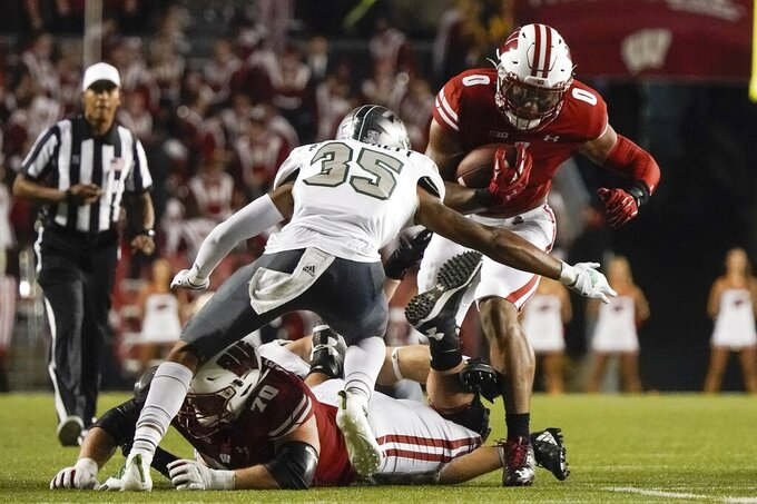 Wisconsin's Braelon Allen runs during the second half of an NCAA college football game against Eastern Michigan Saturday, Sept. 11, 2021, in Madison, Wis. (AP Photo/Morry Gash)