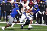 Iowa State running back Breece Hall (28) out runs Kansas safety Ricky Thomas (3) and cornerback Karon Prunty (9) for a touchdown during the second half of an NCAA college football game in Lawrence, Kan., Saturday, Oct. 31, 2020. (AP Photo/Orlin Wagner)