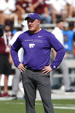 Kansas State head coach Chris Klieman watches his players drill prior to their NCAA college football game against Mississippi State in Starkville, Miss., Saturday, Sept. 14, 2019. (AP Photo/Rogelio V. Solis)