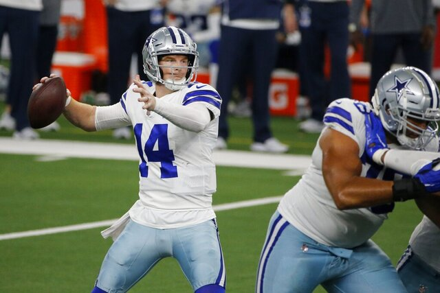Dallas Cowboys quarterback Andy Dalton (14) throws a pass in the second half of an NFL football game against the New York Giants in Arlington, Texas, Sunday, Oct. 11, 2020. (AP Photo/Michael Ainsworth)