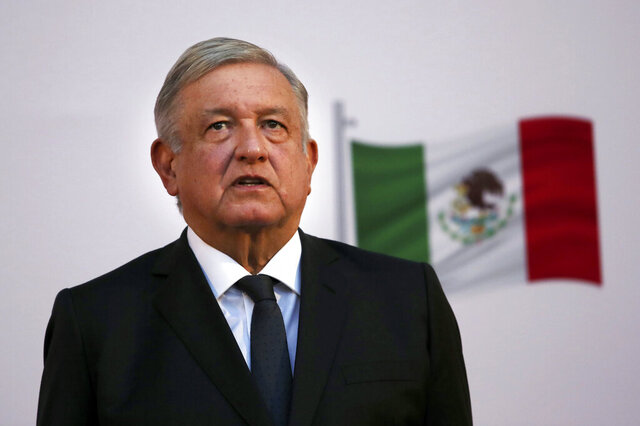 "FILE - In this Dec. 1, 2020 file photo, Mexican President Andrés Manuel López Obrador attends the commemoration of his second anniversary in office at the National Palace in Mexico City. One day after Mexico's Attorney General's Office announced it was dropping the drug trafficking case against its former defense secretary, López Obrador said Friday, Jan. 15, 2020 that the U.S. Drug Enforcement Administration had ""fabricated"" the accusations against retired Gen. Salvador Cienfuegos. (AP Photo/Marco Ugarte, File)"