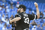 Chicago White Sox's Lance Lynn pitches  against the Toronto Blue Jays in the first inning of a baseball game in Toronto on Monday, Aug. 23, 2021. (Jon Blacker/The Canadian Press via AP)