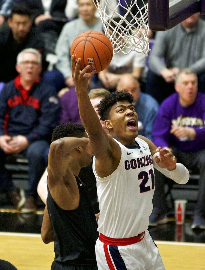 Gonzaga forward Rui Hachimura shoots against Portland during the first half of an NCAA college basketball game in Portland, Ore., Saturday, Jan. 19, 2019. (AP Photo/Craig Mitchelldyer)