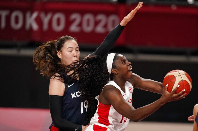 Canadian women get 1st hoops win, beat South Korea 74-53
