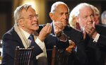 FILE - In this Monday, March 31, 2008 filer, Italian director and designer Franco Zeffirelli, left, reacts as various actors and singers he worked with are introduced at