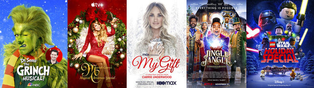 This combination photo shows key art for holiday specials, from left,