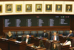 By a vote of 25 to 15 the Florida senate votes to uphold Gov. Ron DeSantis' dismissal of Broward county sheriff Scott Israel on Wednesday Oct. 23, 2019, in Tallahassee, Fla. The Florida Senate backed the suspension of Broward County Sheriff Scott Israel, who the Republican governor said bungled the response to last year's mass shooting in Parkland that killed 17 people.(AP Photo/Steve Cannon)